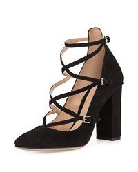 Strappy Crisscross Suede Pump Black Gianvito Rossi