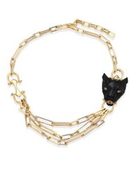 Alexis Bittar Multi Chain Crystal Panther Necklace Gold Black
