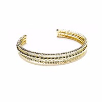 Agnes De Verneuil Golden Cuff Bracelet Three Band Mixed Pearls Gold Yellow Orange