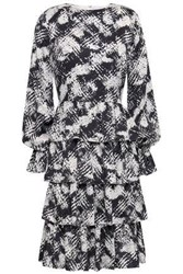 Mikael Aghal Woman Tiered Satin Dress Black