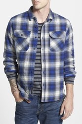 Scotch And Soda Quilted Extra Trim Fit Check Flannel Shirt Jacket Blue