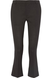 Toteme Vichy Cropped Stretch Wool Blend Flared Pants Black