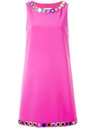 Moschino Mirror Embroidered Shift Dress Pink Purple