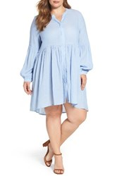 Glamorous Plus Size Women's Button Up A Line Dress Sky Blue Textured