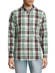 Wesc Relaxed Fit Plaid Cotton Shirt Green