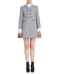 Alexander Mcqueen Double Breasted Houndstooth Coat Black White Plaid