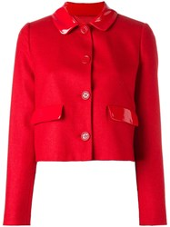 Love Moschino Cropped Buttoned Jacket Red