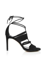 Whistles Brea Square Toe Lace Up High Heels Black