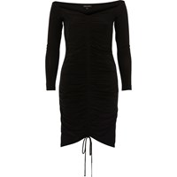 River Island Womens Black Ruched Bodycon Dress