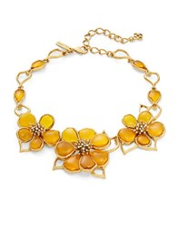 Oscar De La Renta Crystal And Cobochon Flower Collar Necklace Yellow