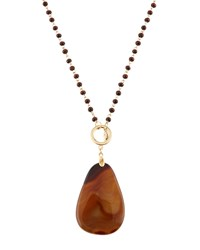 Emily And Ashley Greenbeads By Emily And Ashley Long Wooden Beaded Pendant Necklace Brown