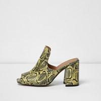 River Island Womens Yellow Leather Snakeskin Print Stud Mules