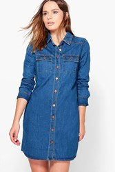 Boohoo Long Sleeve Button Through Denim Dress Mid Blue