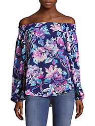 Saks Fifth Avenue Red Floral Print Off The Shoulder Top Navy Magenta