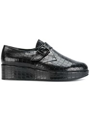 Robert Clergerie Monk Strap Platform Loafers Leather Black