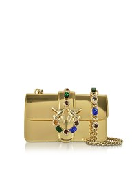 Pinko Mini Love Gold Laminated Leather Shoulder Bag