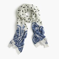 J.Crew Polka Dot Scarf With Paisley Trim