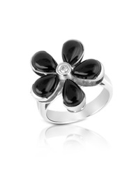 Del Gatto Diamond And Onyx Flower 18K Gold Ring Black