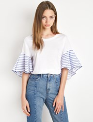 Pixie Market Striped Ruffled Sleeve White Tee