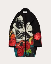 Valentino Compact Drap Coat With Applied Undercover Embroidered Print Multicolored Virgin Wool 95 Cashmere 5