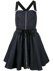 Adam Selman Denim Overall Dress Blue