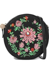 Clare V. Woman Le Cercle Embroidered Canvas And Leather Shoulder Bag Black