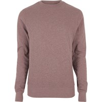 River Island Mens Red Washed Crew Neck Sweatshirt
