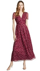 Wayf Rhoda Pleated Faux Wrap Dress Berry Mini Roses