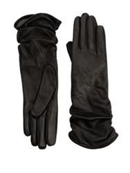 Saks Fifth Avenue Ruched Leather Gloves Brown