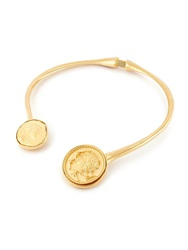 Kenneth Jay Lane Coin Bib Necklace Gold Silver