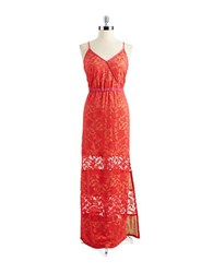 Abs By Allen Schwartz Lace Overlay Maxi Dress Coral Pink