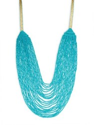 Design Lab Lord And Taylor Long Beaded Necklace Light Blue