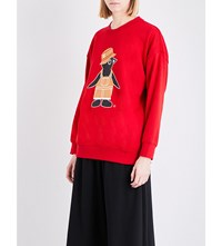 Chocoolate Penguin Print Knitted Jumper Red