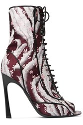 Giambattista Valli Leather Trimmed Jacquard Boots Burgundy