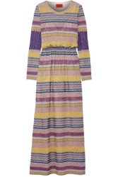 Missoni Striped Metallic Crochet Knit Maxi Dress Pink