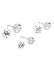Ak Anne Klein Sterling Silver Sparkle Stud Earring Set