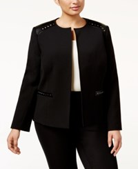 Tahari By Arthur S. Levine Asl Plus Size Ponte Faux Leather And Stud Jacket Black