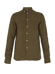 Solid And Striped The Button Down Linen Shirt Green