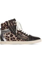 Just Cavalli Leopard Print Satin And Leather Sneakers Multi