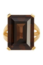 Savvy Cie 18K Yellow Gold Vermeil Smoky Topaz Ring Brown