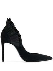 Lanvin Ruffle Ankle Pumps Black