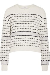 10 Crosby By Derek Lam Chiffon Trimmed Cotton Sweater White