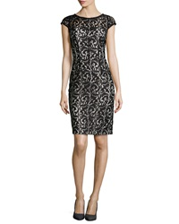 Ml Monique Lhuillier Cap Sleeve Lace Overlay Cocktail Dress Black White