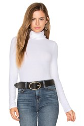 Three Dots Long Sleeve Turtleneck Top White