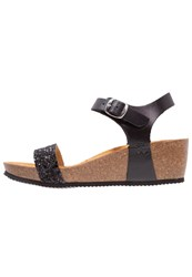 Le Temps Des Cerises Astrid Wedge Sandals Glitter Black