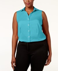 Charter Club Plus Size Sleeveless Shirt Only At Macy's Clear Coast