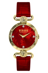 Versus By Versace 'Sunnyridge' Leather Strap Watch 34Mm Red Gold