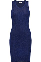 Opening Ceremony Metallic Ribbed Knit Mini Dress Storm Blue