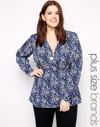 Junarose Ditsy Print Long Sleeve Shirt Whiteblue