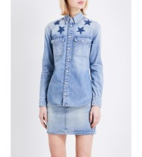 Givenchy Star Embroidered Denim Shirt Blue